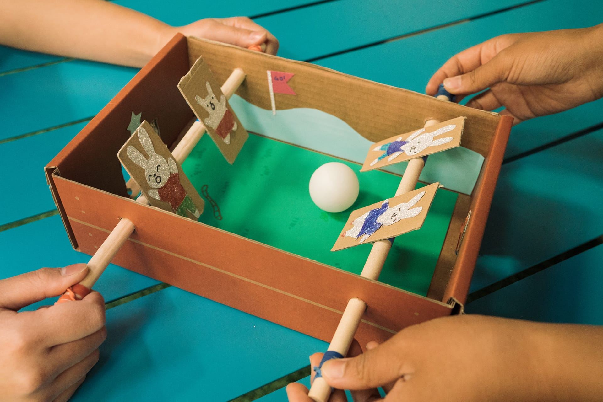 Cardboard Upcycled Project: Mini Foosball
