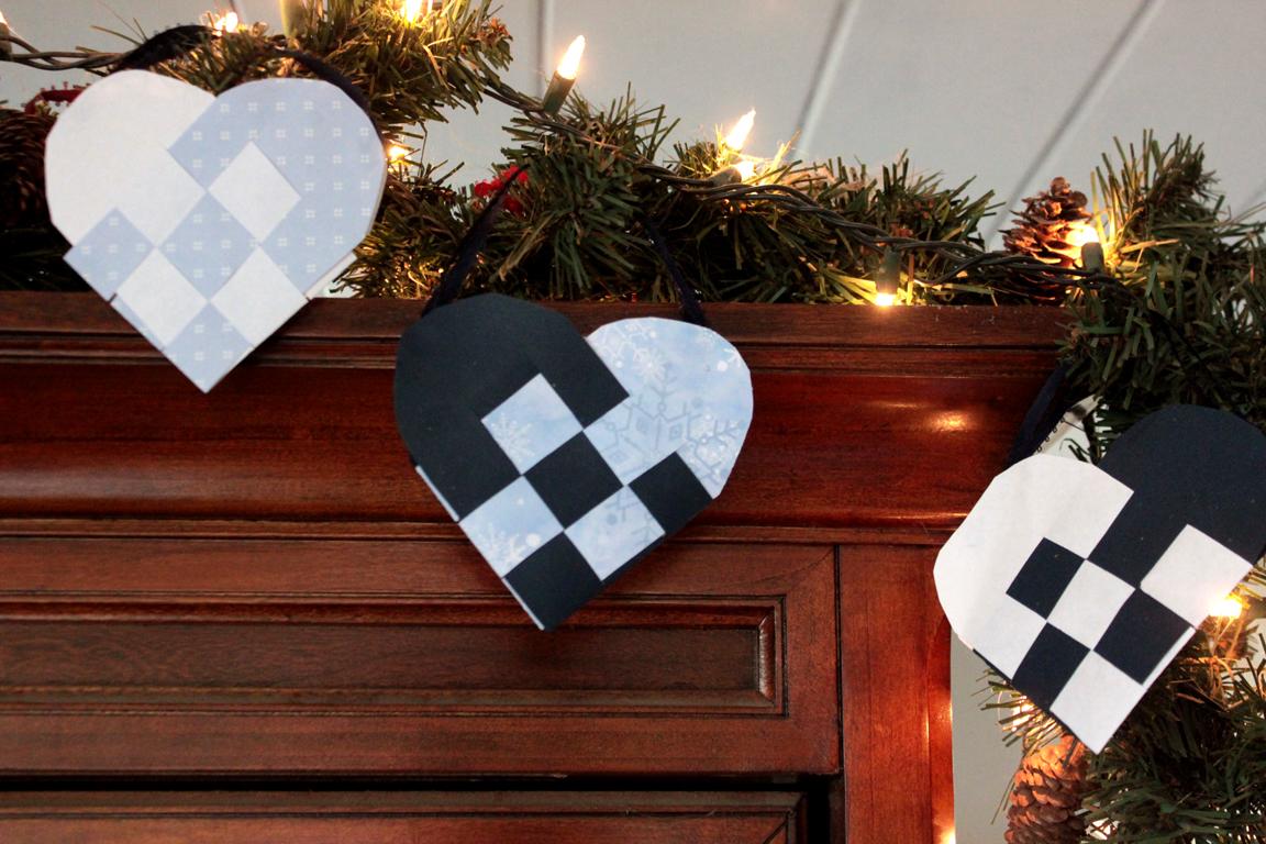Danish Woven Paper Heart Christmas DIY